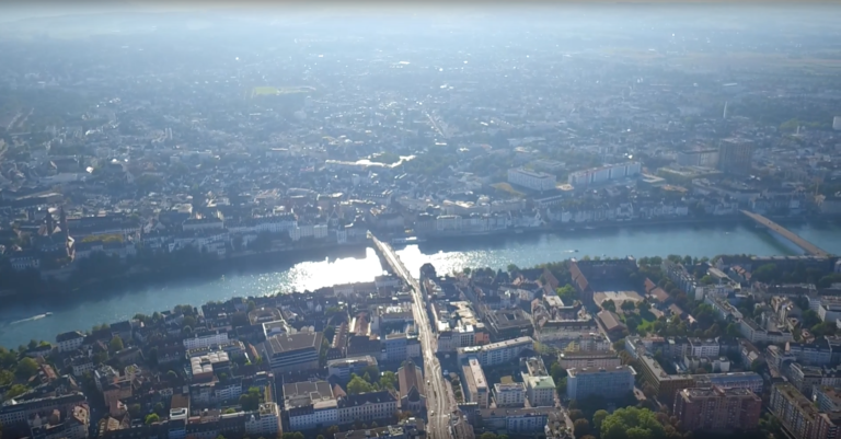 Drone Video - Mittlere Brücke Basel Aerial View