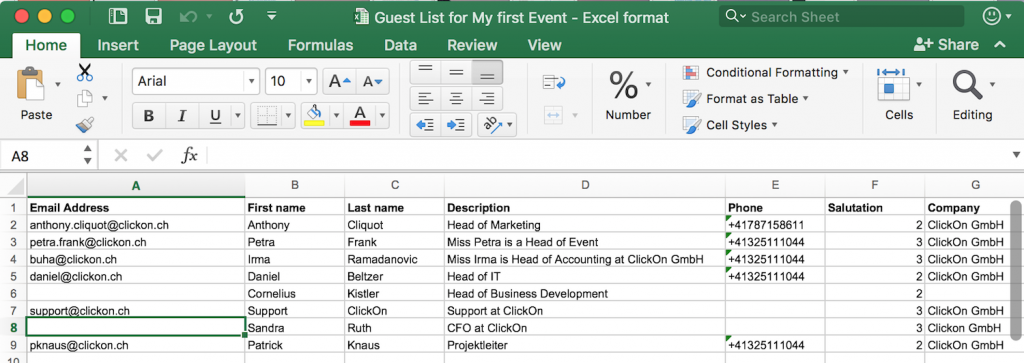 Guest List in Excel