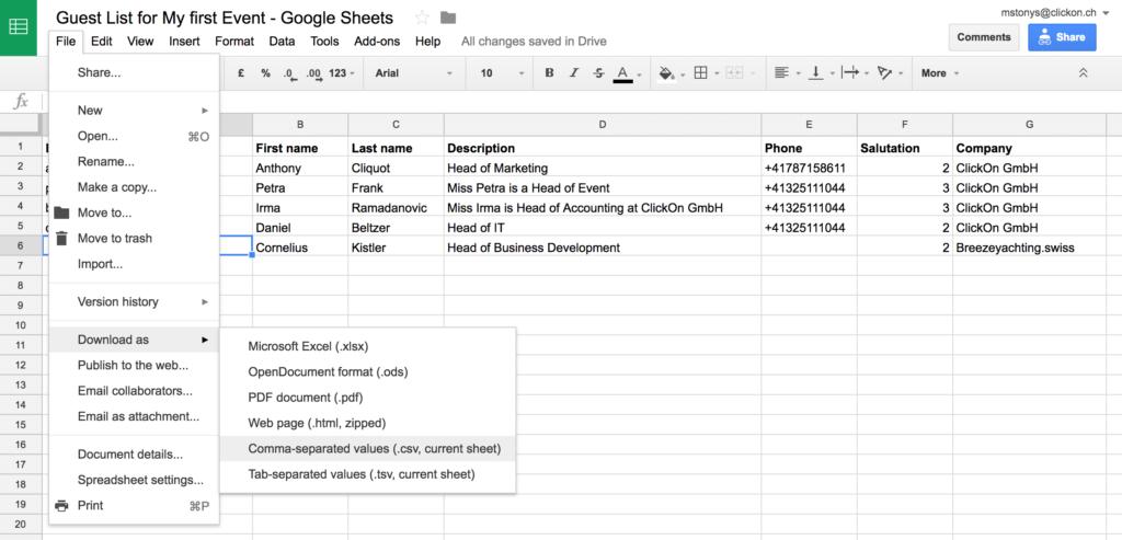 create guests csv in google sheets clickon gmbh