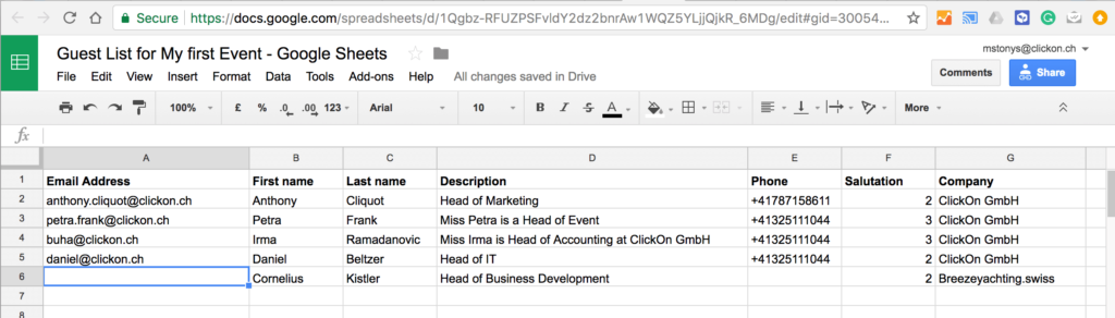 create guests csv in google sheets clickon gmbh